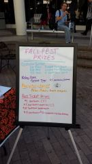 The Fall Festival prize board. (Photo By Connor St. George)