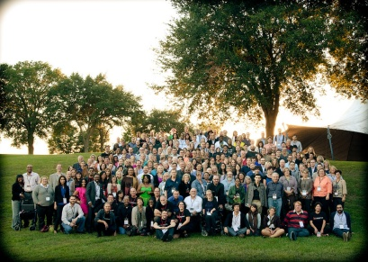 The participants, speakers and creators of TEDxJacksonville 2014 pose on a hill. (Photo By Tiffany Manning)