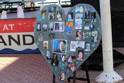 A decorated heart displays the photos of suicide victims. (Photo By Savannah Dobbs)