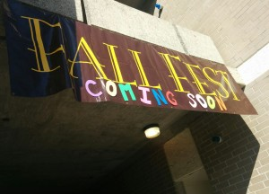 A South Campus banner signals the arrival of Fall Fest Oct. 21.