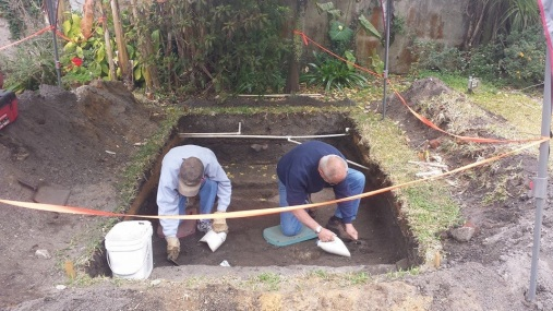 Two archaeologists hard at work. (Photo by Connor St. George )