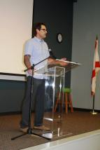 Jason Peter speaks in front of a captive audience for the Author Series event. (Photo by FSCJ Author Series)