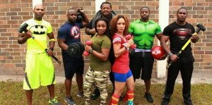 Photo provided by JLOF Justice League of Fitness L to R back: Terrance Hightower, Chauvone Taylor, Leroy Mosley, Chris Deneville and Ahkem Jordan; L to R front: Latoya Griffin and Coralis Santana