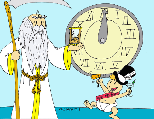 father time baby new year